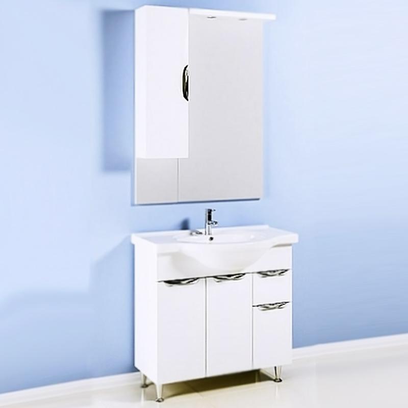 Эколайн 85 БелаяМебель для ванной<br>Напольная тумба под раковину Aqwella Лайн 85 Eco-L.01.08 белая, с глянцевой поверхностью, на четырех ножках, с тремя распашными дверцами и с одним выдвижным ящиком. Для использования в ванных комнатах с повышенной влажностью. <br>Гармония, удобство и функциональность.<br>Материал фасада: крашеный МДФ.<br>Материал корпуса: ламинированая ДСП.<br>Фурнитура: глянцевый хром.<br>Экологически чистые материалы.<br>Сертификат качества: ISO 9001:2000.<br>Отделения:<br>левое: две распашные дверцы, одна полка из МДФ;<br>правое: одна распашная дверца, один выдвижной ящик.<br>В комплекте поставки:<br>тумба.<br>