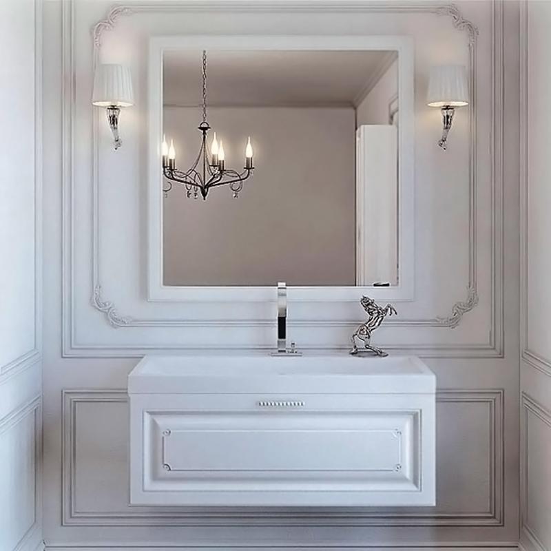 Империя 100 подвесная БелаяМебель для ванной<br>Подвесная тумба под раковину Aqwella Империя 100 Emp.01.10/W белая, с глянцевой поверхностью, с фрезеровкой, с хромированной ручкой, инкрустированной кристаллами Swarovski, с выдвижным ящиком. Для использования в ванных комнатах с повышенной влажностью. <br>Материал: высококачественный испанский МДФ (FINSA).<br>Покрытие: высокоглянцевая эмаль.<br>Ручка: хром, инкрустация кристаллами Swarovski.<br>Отделка внутренних элементов: под ткань, цвет Eolo.<br>Экологически чистые материалы.<br>Фурнитура Blum: надежность идолговечность.<br>Монтаж: подвесной, крепление к стене.<br>Отделение:<br>один выдвижной ящик.<br>Система разделения внутреннего пространства.<br>Система полного выдвижения и плавного закрывания (Blum).<br>В комплекте поставки:<br>тумба.<br>