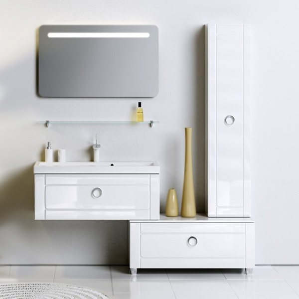 Инфинити 100 подвесная БелаяМебель для ванной<br>Подвесная тумба под раковину Aqwella Инфинити 100 Inf.01.10/001 белая, с глянцевой поверхностью, с выдвижным ящиком с хромированной ручкой. Для использования в ванных комнатах с повышенной влажностью. <br>Материал: высококачественный испанский МДФ (FINSA).<br>Покрытие: высокоглянцевая эмаль.<br>Отделка внутренних элементов: под ткань, цвет Eolo.<br>Экологически чистые материалы.<br>Фурнитура Blum: надежность идолговечность.<br>Монтаж: подвесной, крепление к стене.<br>Отделение:<br>один выдвижной ящик.<br>Система разделения внутреннего пространства.<br>Система полного выдвижения и плавного закрывания (Blum).<br>В комплекте поставки:<br>тумба.<br>