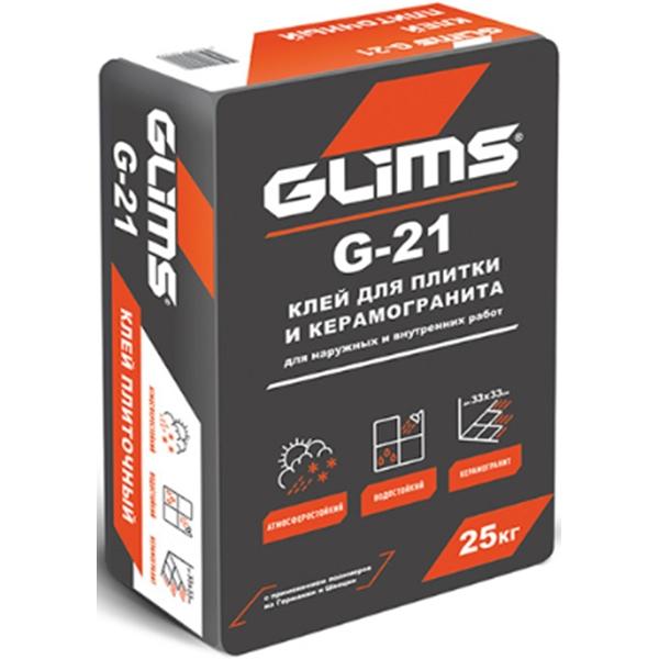Клей для плитки и керамогранита Glims G-21 25 кг