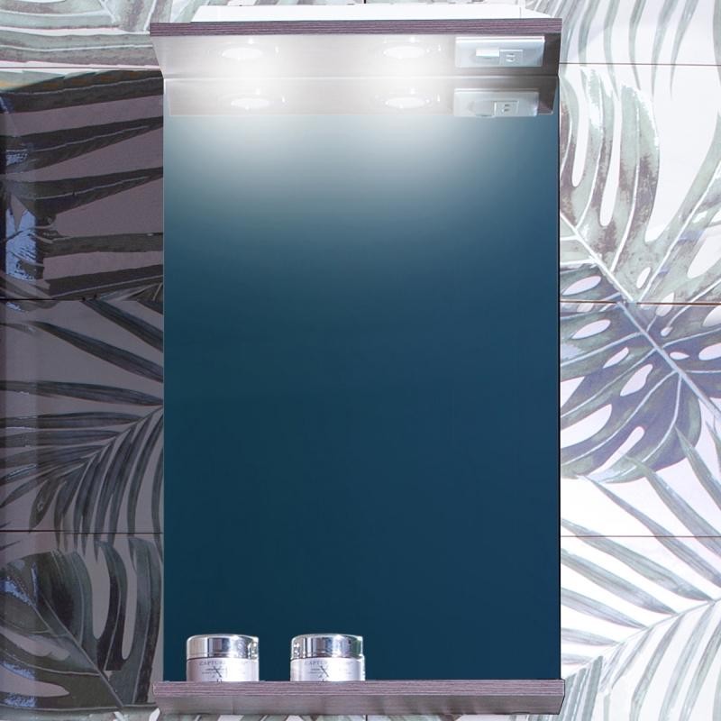 Зеркало Бриклаер Кристалл 40 с подсветкой Ясень Анкор темный