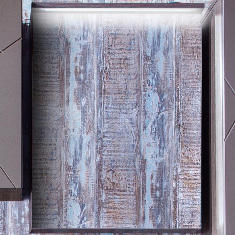 Зеркальный шкаф Бриклаер Кристалл 56 с подсветкой Ясень Анкор темный