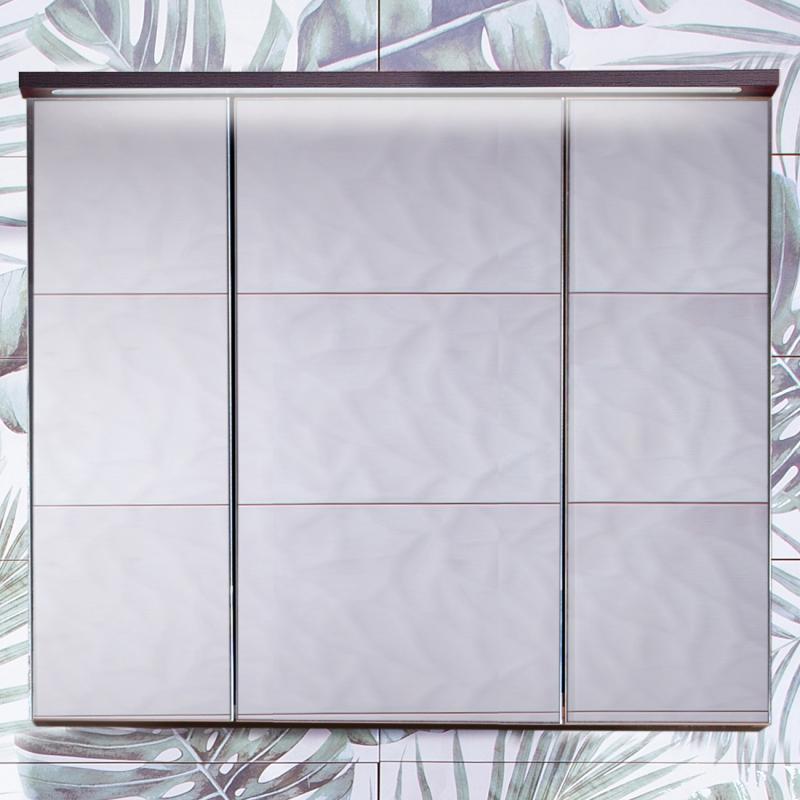 Зеркальный шкаф Бриклаер Кристалл 75 с подсветкой Ясень Анкор темный