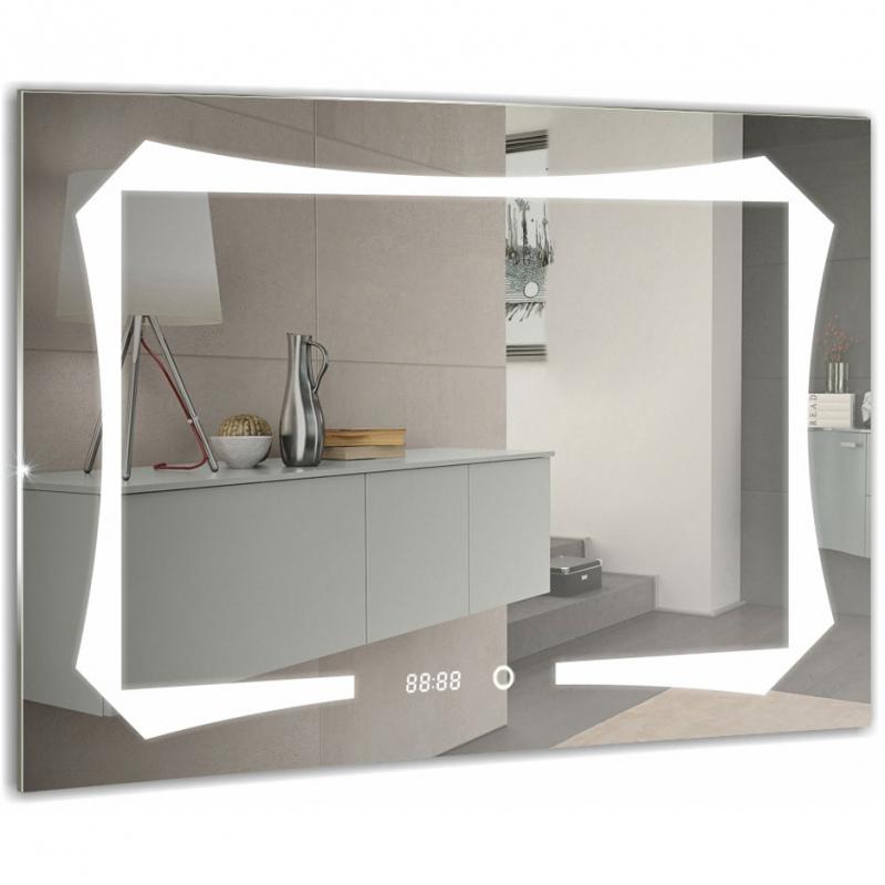 Зеркало Mixline Премьер Отто 80 539782 с подсветкой с часами и сенсорным выключателем