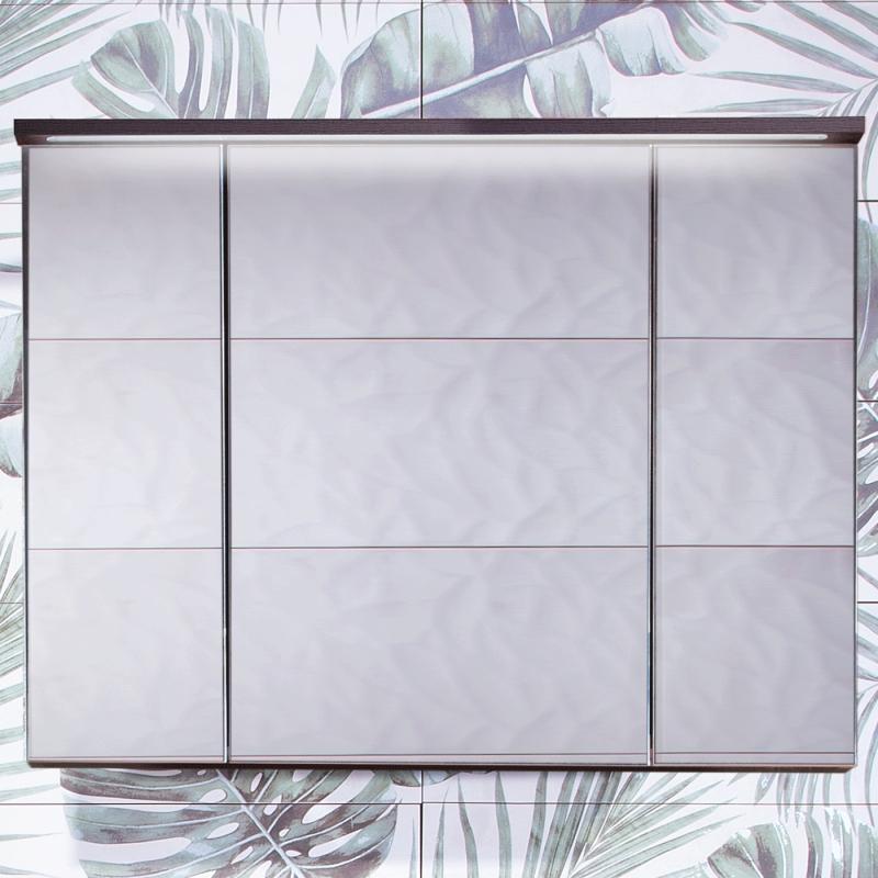 Зеркальный шкаф Бриклаер Кристалл 95 с подсветкой Ясень Анкор темный