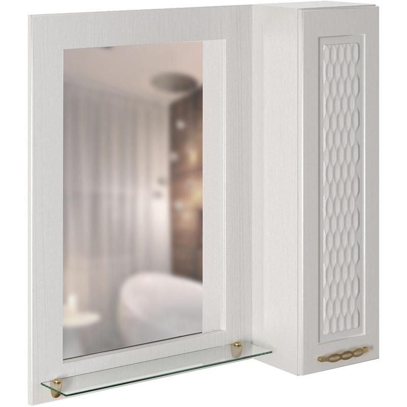 Зеркало со шкафом Mixline Ладога 75 539816 с подсветкой Белое набор мебели для ванной mixline ладога 75 белый зеркало тумба раковина