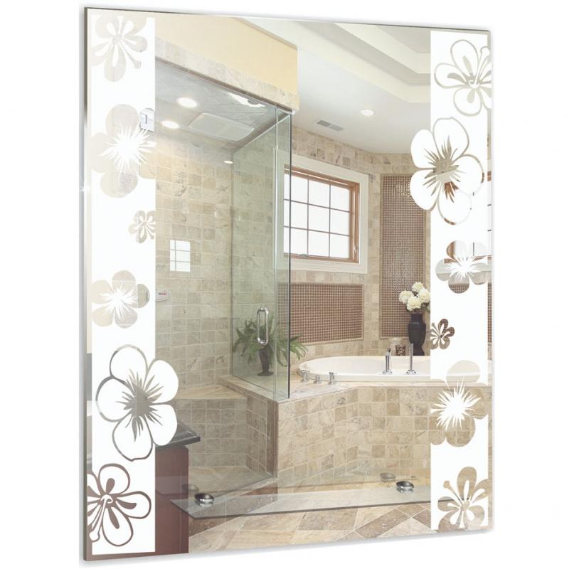 цена на Зеркало Mixline Шарм Флора 54 525460 с полкой с пескоструйным рисунком