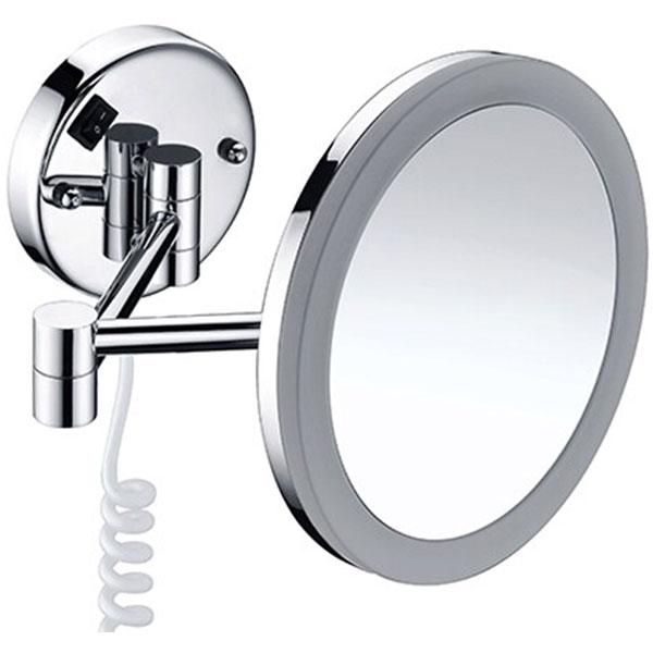 Фото - Косметическое зеркало WasserKRAFT K-1004 с подсветкой с увеличением Хром зеркало косметическое настольное wasserkraft k 1002 хром