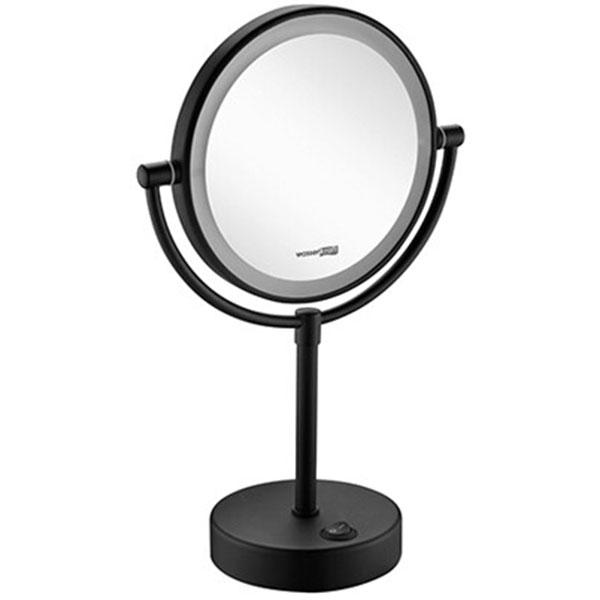 Косметическое зеркало WasserKRAFT K-1005BLACK с подсветкой увеличением Черное