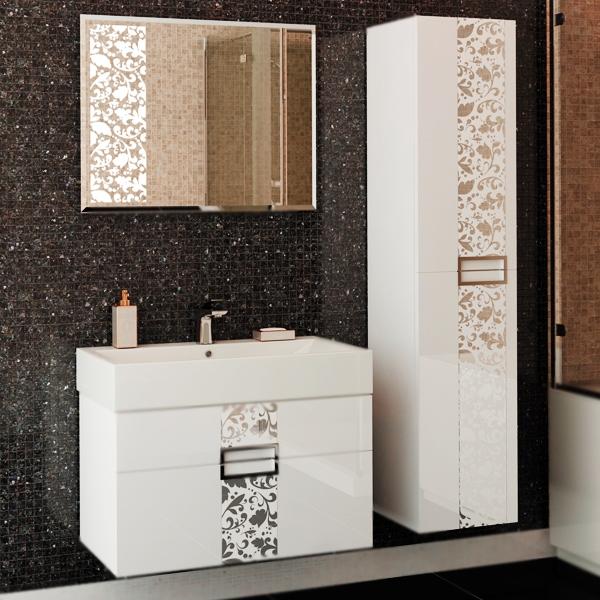 Edel 80 подвесная БелаяМебель для ванной<br><br>Подвесная тумба под раковину Edelform Edel 80 1-607-00-Е80 белая глянцевая, с декоративными вставками из стекла с рисунком, с двумя выдвижными ящиками. Предназначена для использования в ванных комнатах с повышенной влажностью.<br><br><br>Эстетика минимализма выражена последовательными прямыми линиями.<br>Сочетание комфорта и функциональности.<br>Безопасность: экологически чистые составляющие.<br>Материал: МДФ повышенной плотности.<br>Многослойное покрытие Edelform Crystal: итальянская эмаль Milesi.<br>Метод запекания кромки Waterproof: влагостойкость и долговечность.<br>Фурнитура: глянцевый хром.<br>Декоративные вставки: стекло с рисунком.<br>Монтаж: подвесной, крепление к стене.<br><br><br>Отделения:<br>два выдвижных ящика на стальных направляющих Edelform.<br>Встроенные доводчики для плавного движения.<br><br><br>В комплекте поставки:<br>тумба.<br>Поставляется в собранном виде.<br><br>