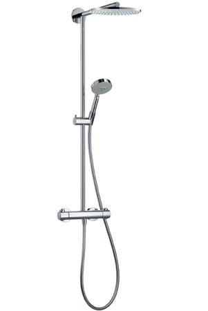 Raindance Showerpipe 180 27165000 хромДушевые системы<br>Верхний душ 180мм, вынос 460мм. В набор входят: термостат внешнего монтажа с запорным/переключающим вентилем, верхний душ Raindance AIR &amp;#216; 180 мм с технологией AIR и системой защиты от загрязнений QuickClean, ручной душ Raindance S 100 EcoSmart 3jet (28552000), шланг Isiflex 1,60 м (28504000), регулируемый по высоте держатель душа (28276000). Расход воды при 0,3 MПa – 9,4 л/мин. Подходит для проточного водонагревателя, если давление в смесителе составляет минимально 0,15 MПa.<br>