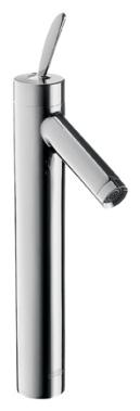 Starck 10020000 ХромСмесители<br>Смеситель для раковины Axor Starck 10020000 однорычажный. Высокая модель. Смеситель для раковины в форме таза, однорычажный, картридж джойстикового типа, ограничитель расхода воды до 5 л/мин, аэратор QuickClean, донный клапан, Совместим с проточным водонагревателем.<br>
