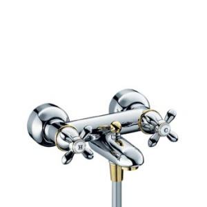 Carlton 17430000 ХромСмесители<br>Смеситель для ванны Axor Carlton 17430000 с двумя рукоятками. Вентили Elastop, расход воды около 22 л/мин, штихмас 150 мм, защита от обратного тока воды, автоматическое переключение душ/ванна, шланговое подсоединение. Совместим с проточным водонагревателем.<br>