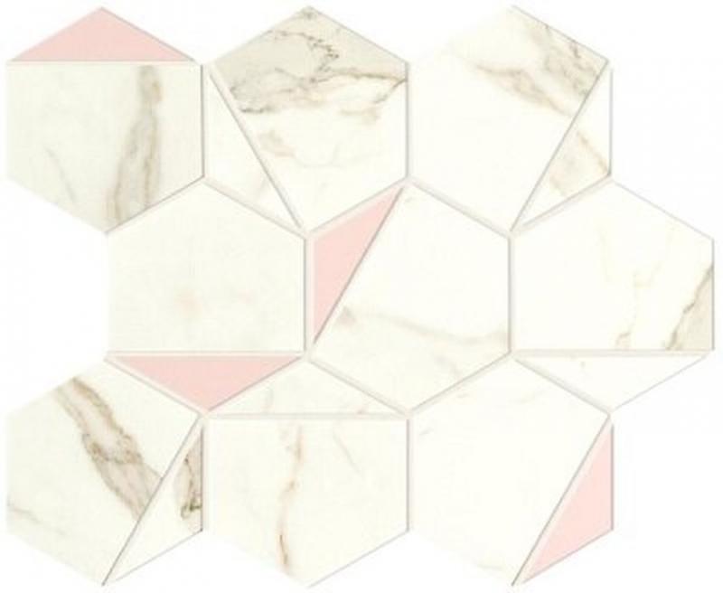Керамическая мозаика Atlas Concorde Marvel Shine Calacatta Prestigio Rose Hex Silk A4WS 25,1х29 см