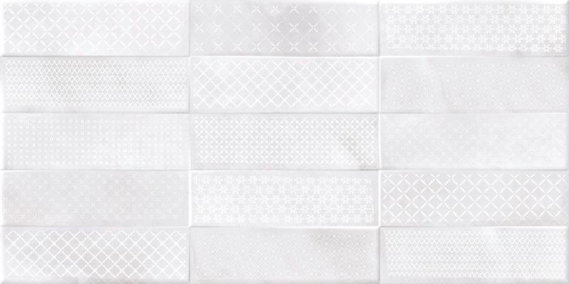 Керамическая плитка Cersanit Carly рельеф кирпичи декорированный светло-серый CSL524D настенная 29,8х59,8 см