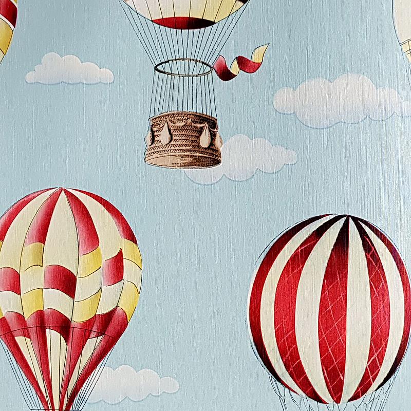 Обои детские G'BOYA Kaleidoskope 240394 Винил на флизелине (1,06*10,05) Голубой, Воздушные шары