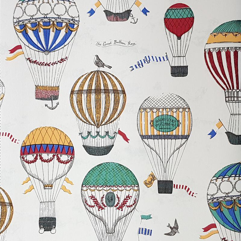 Обои детские G'BOYA Kaleidoskope 240401 Винил на флизелине (1,06*10,05) Белый, Воздушные шары