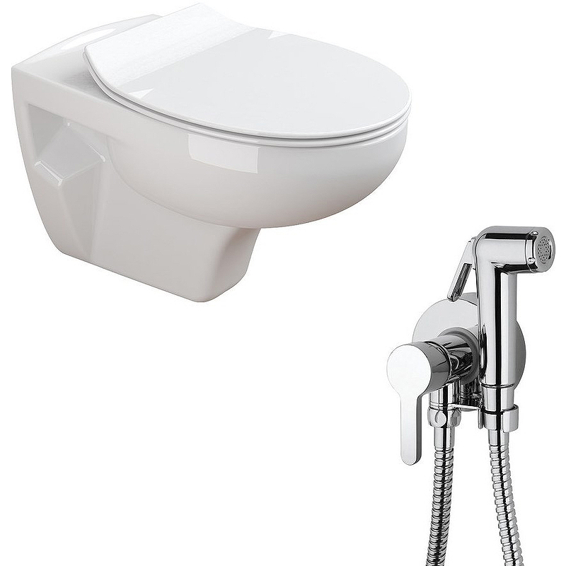 Комплект унитаза с гигиеническим душем Sanitana Munique N555661aosta подвесной с сиденьм Микролифт пьедестал sanitana munique s10072800000000