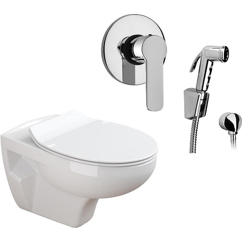 Комплект унитаза с гигиеническим душем Sanitana Munique N555661arona подвесной с сиденьм Микролифт пьедестал sanitana munique s10072800000000
