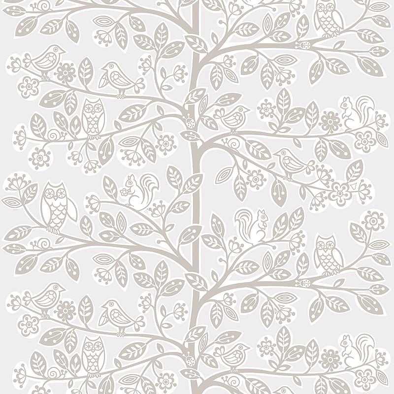 Обои детские Grandeco Jack N ROSE 2 LL-06-11-6 Винил на флизелине (0,53*10,05) Серый/Белый/Коричневый, Животные/Деревья