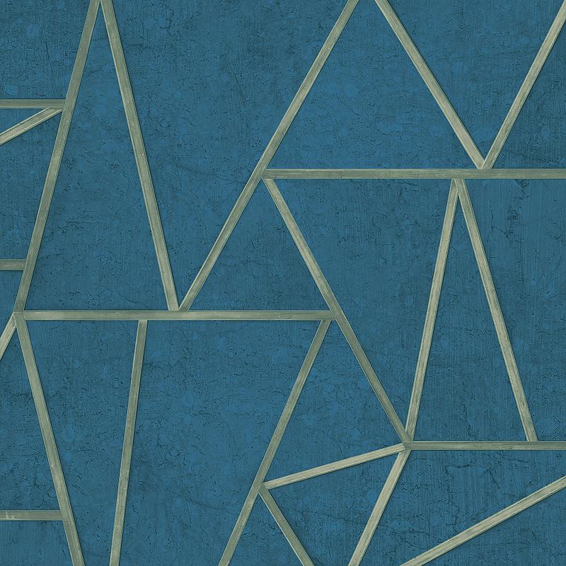 Обои Grandeco Exposure EP 3704 Винил на флизелине (0,53*10,05) Синий, Геометрия/Штукатурка