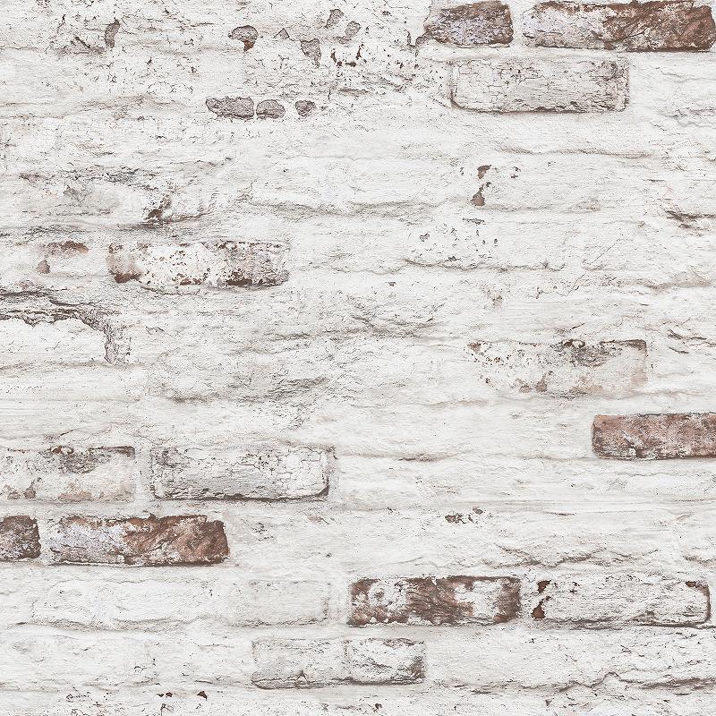Обои Grandeco Grange R101125 Винил на флизелине (1,06*10,05) Серый/Коричневый/Розовый, Под кирпич