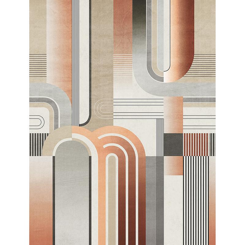 Панно Grandeco Plains and Murals PM 6601 Винил на флизелине (2,12*2,8) Оранжевый/Серый, Геометрия