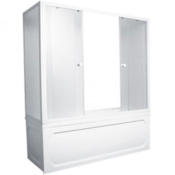 Шторка на ванну 1MarKa 170 профиль Белый стекло матовое