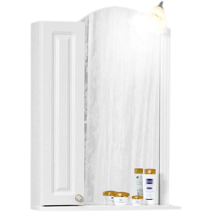 Анна 60 с подсветкой Белое RМебель для ванной<br><br>Зеркало Бриклаер Анна 60 со шкафчиком, с открытой нижней полкой, со светильником в форме цветка. Для использования в ванных комнатах с повышенной влажностью.<br><br><br>Гармония, домашний уют, тепло и функциональность.<br>Белоснежный рельефный фасад.<br>Изысканная золотисто-фарфоровая фурнитура.<br>Ориентация: шкафчик справа.<br>Материал корпуса: ЛДСП белый глянец.<br>Повышеная влагостойкость.<br><br><br>В комплекте поставки:<br>зеркало;<br>светильник.<br><br>
