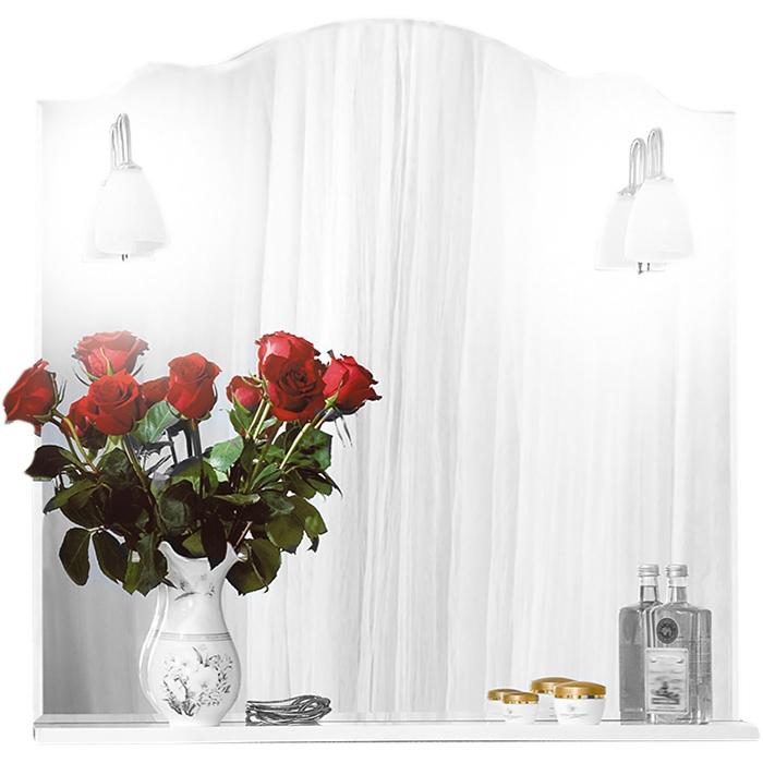 Анна 90 с подсветкой БелоеМебель для ванной<br><br>Фигурное зеркало Бриклаер Анна 90 с открытой нижней полкой, со светильниками в форме цветочков. Для использования в ванных комнатах с повышенной влажностью.<br><br><br>Гармония, домашний уют, тепло и функциональность.<br>Белоснежный рельефный фасад.<br>Изысканная золотисто-фарфоровая фурнитура.<br>Материал корпуса: ЛДСП белый глянец.<br>Повышеная влагостойкость.<br><br><br>В комплекте поставки:<br>зеркало;<br>два светильника.<br><br>