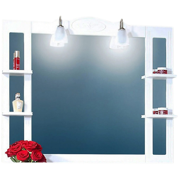 Анна 120 с подсветкой БелоеМебель для ванной<br><br>Фигурное зеркало Бриклаер Анна 120 с четырьмя открытыми полочками, со светильниками в форме цветочков. Для использования в ванных комнатах с повышенной влажностью.<br><br><br>Гармония, домашний уют, тепло и функциональность.<br>Белоснежный рельефный фасад.<br>Изысканная золотисто-фарфоровая фурнитура.<br>Материал корпуса: ЛДСП белый глянец.<br>Повышеная влагостойкость.<br><br><br>В комплекте поставки:<br>зеркало;<br>два светильника.<br><br>