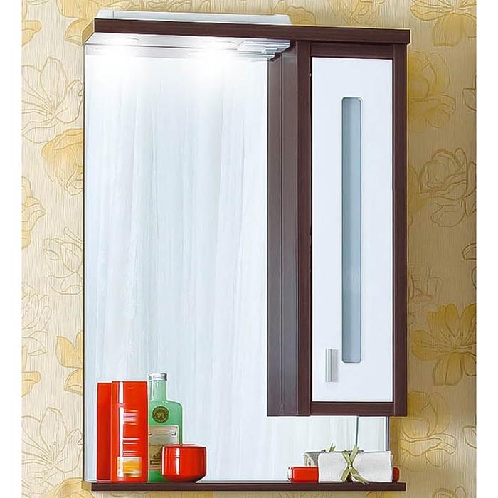 Бали 62 Корпус венге, фасад белый LМебель для ванной<br>Зеркало со шкафчиком и нижней полочкой. Размер: 620х842х200 мм.<br>