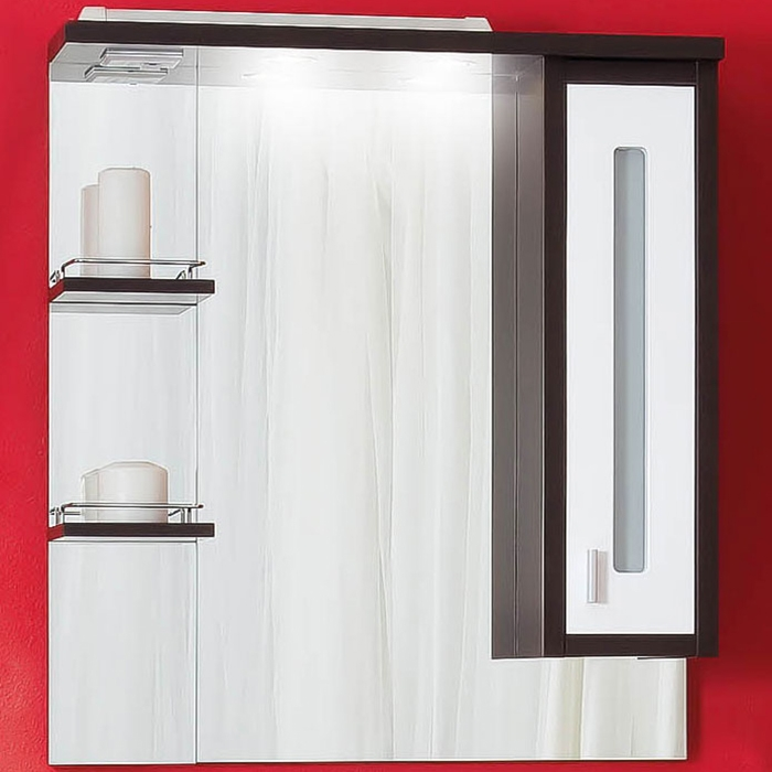 Бали 75 с подсветкой Корпус венге, фасад белый LМебель для ванной<br>Зеркало со шкафчиком и полочками Бриклаер Бали 75. Размер: 754х855х200 мм.<br>