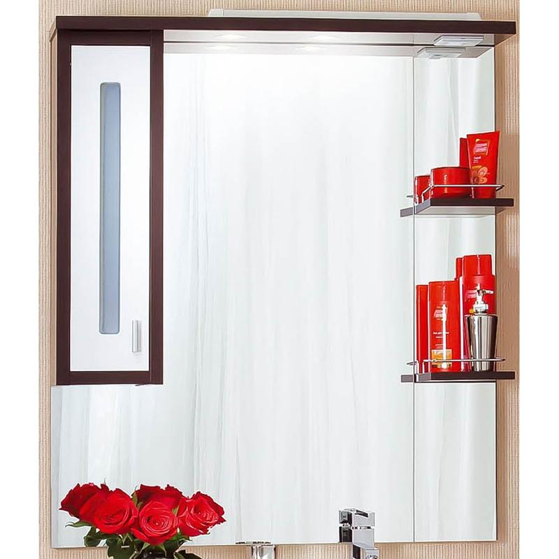 Бали 90 с подсветкой Светлая лиственница/Белый глянец RМебель для ванной<br>Зеркальный шкаф Бриклаер Бали 90 R с подсветкой.<br>Материал корпуса: ДСП, материал фасада: МДФ. Многослойное покрытие краской, лаком и грунтовкой обеспечивает износостойкость и устойчивость к бытовым повреждениям.<br>Зеркальная поверхность обработана серебром и амальгамой.<br>Шкафчик для хранения аксессуаров с правой стороны. Дверца с плавным ходом оснащена механизмом доводчика.<br>Две открытые полки с ограничителями.<br>Галогеновые светильники мощностью 12 V. Подключаются к электросети 220 Вт.<br>Размер: 90x20x112 см.<br>