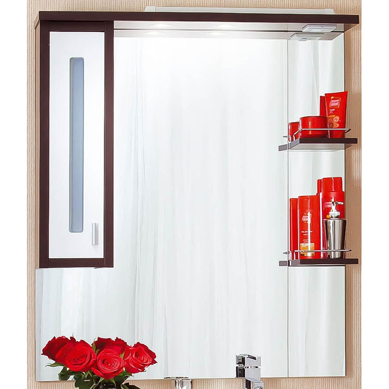 Зеркальный шкаф Бриклаер Бали 90 с подсветкой Корпус венге, фасад белый R зеркальный шкаф бриклаер лючия 98 белый глянцевый