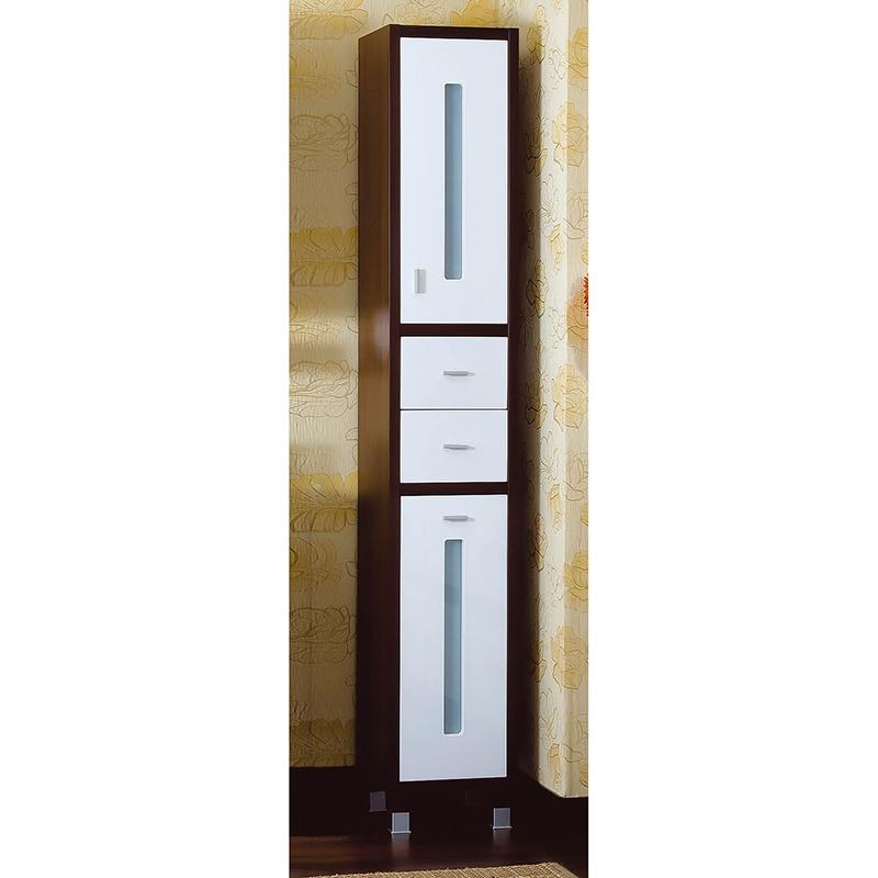 Шкаф пенал Бриклаер Бали 34 Светлая лиственница/Белый глянец зеркальный шкаф бриклаер бали 40 светлая лиственница