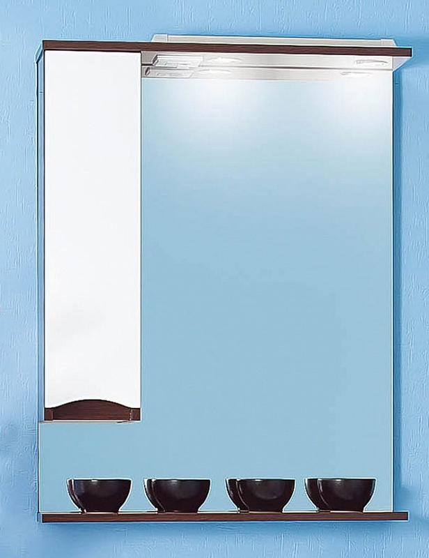 Зеркало со шкафом Бриклаер Токио 70 с подсветкой Фасад белый, корпус венге R