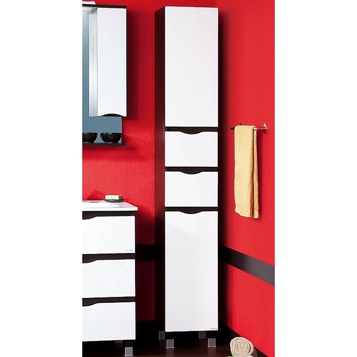 Токио 32 Светлая лиственница/Белый глянецМебель для ванной<br>Напольный шкаф-пенал Бриклаер Токио 32 с корзиной для белья.<br>Стильная модель, вдохновленная Японией, для ванной комнаты с современным дизайном.<br>Корпус пенала изготовлен из ДСП, корпус - из устойчивого к влаге и перепадам температур МДФ с глянцевым лакированным покрытием. <br>Два выдвижных ящика и две распашные дверки с прорезями в фасадах для удобства открывания.<br>Механизм доводчика для плавного хода дверей и ящиков.<br>Съемная бельевая корзина в нижней секции.<br>Цвет: светлая лиственница/белый глянец.<br>Монтаж: на ножках, предусмотрено крепление к стене для большей устойчивости.<br>В комплекте поставки: шкаф-пенал, комплект креплений.<br>
