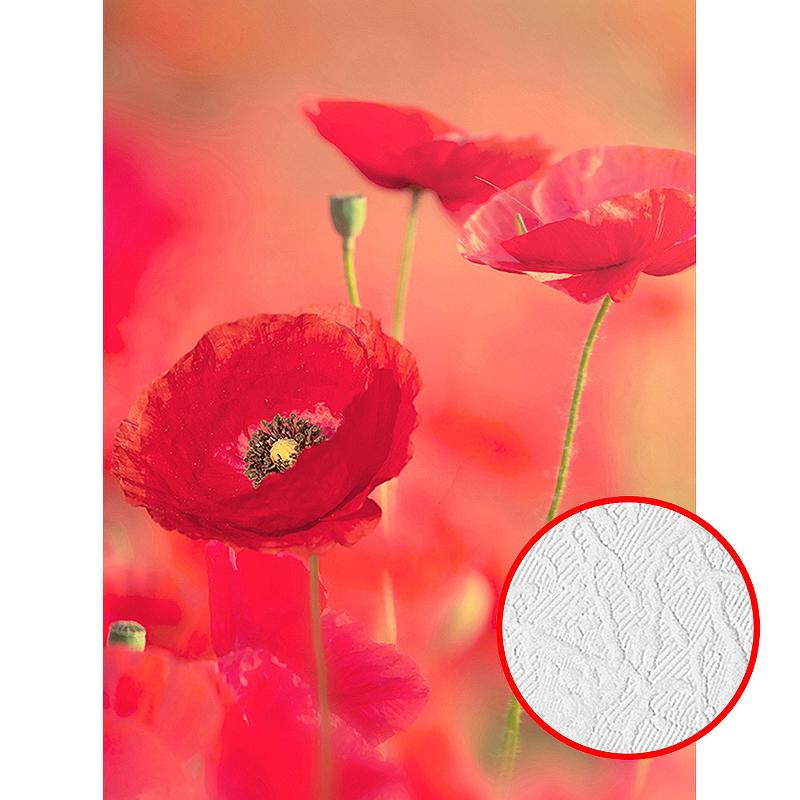 Фотообои Divino A-019 Фактура фреска Винил на флизелине (2*2,7) Красный, Цветы