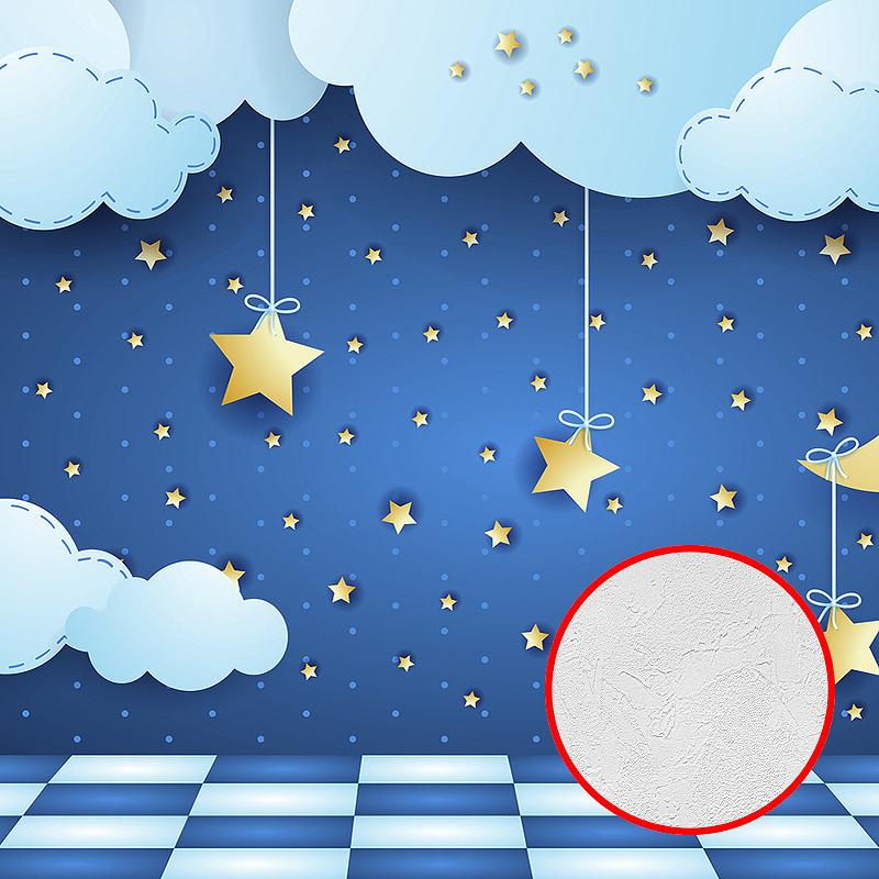 Фотообои детские Divino K-044 Фактура живопись Винил на флизелине (4*2,7) Голубой, Облака/Детский