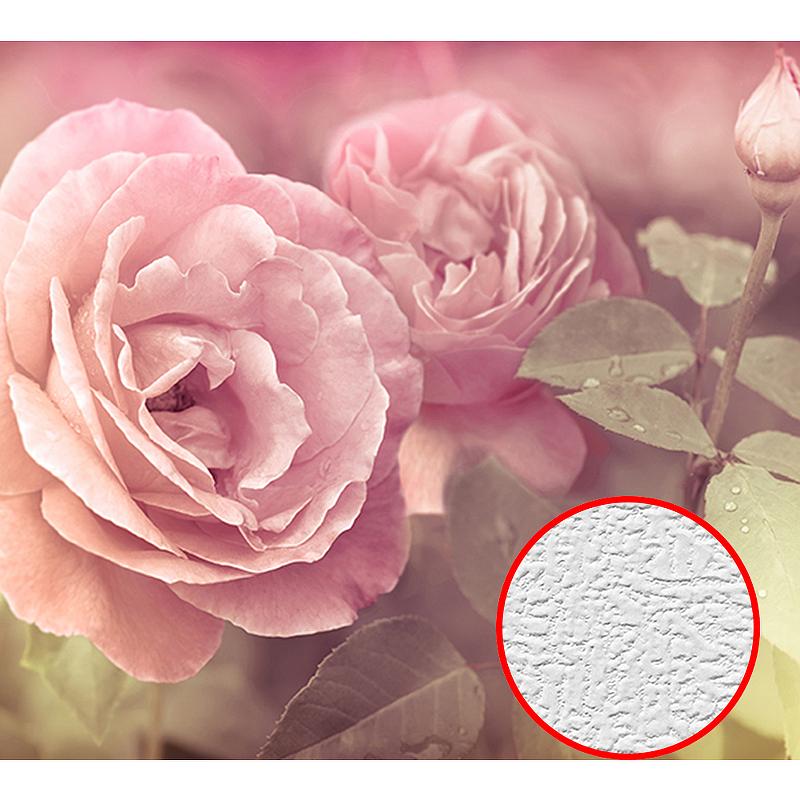 Фотообои Divino A-079 Фактура холст Винил на флизелине (3*2,7) Розовый, Цветы