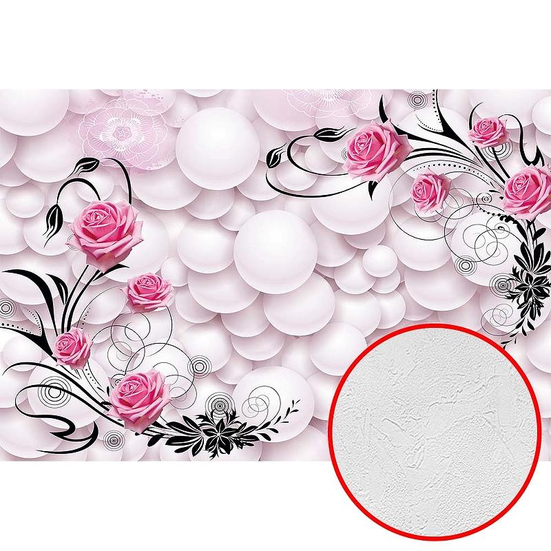 Фотообои Divino T-279 Фактура живопись Винил на флизелине (4*2,7) Розовый, Воздушные шары/Цветы