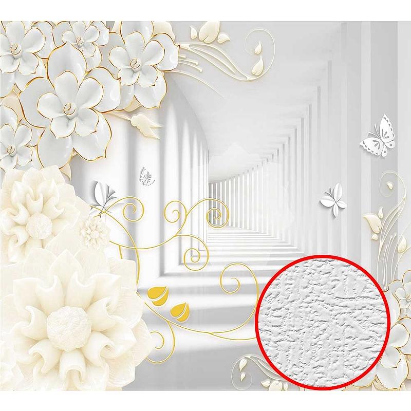 Фотообои Divino T-082 Фактура холст Винил на флизелине (3*2,7)Белый/Бежевый, Цветы