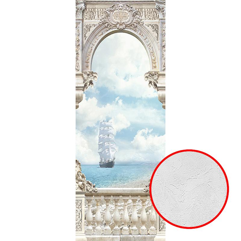 Фотообои Divino T-031 Фактура живопись Винил на флизелине (1*2,7) Бежевый/Голубой, Корабль