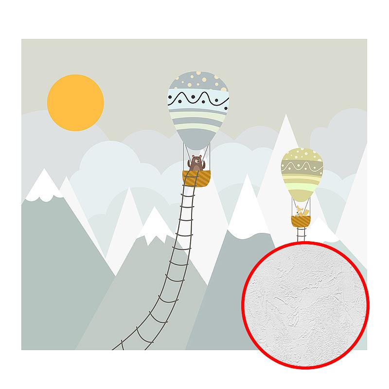 Фотообои детские Divino T-042 Фактура живопись Винил на флизелине (3*2,7) Серый/Белый, Воздушные шары