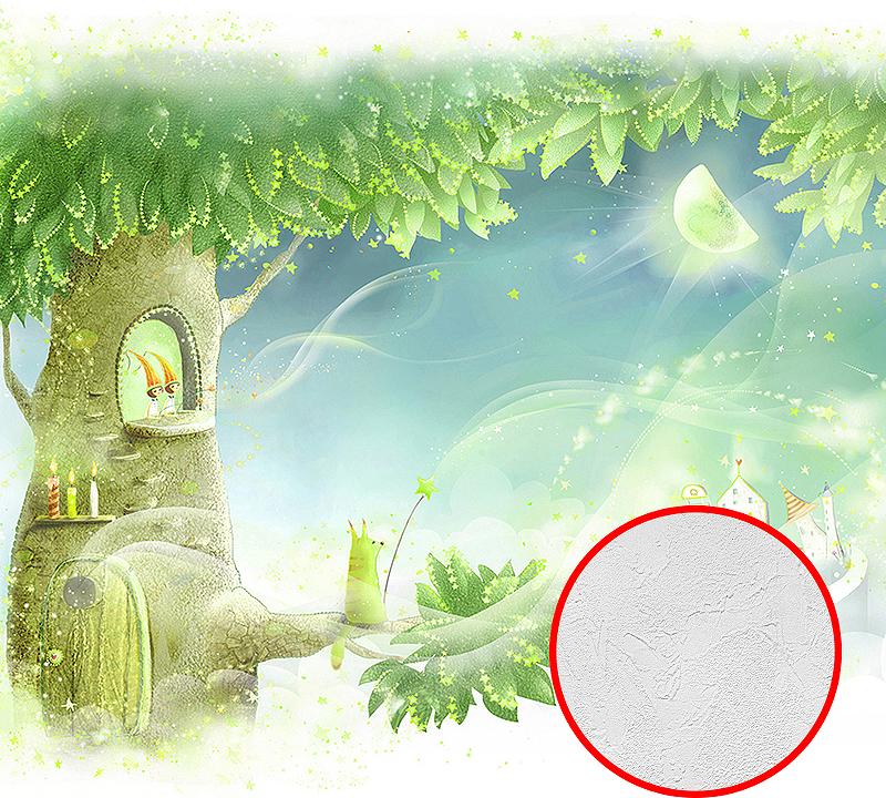 Фотообои детские Divino B-031 Фактура живопись Винил на флизелине (3*2,7) Зеленый/Голубой, Деревья