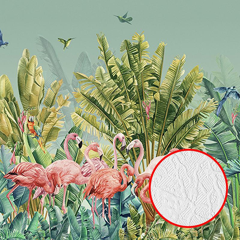 Фотообои Divino T-057 Фактура фреска Винил на флизелине (4*2,7) Зелёный/Розовый, Птицы