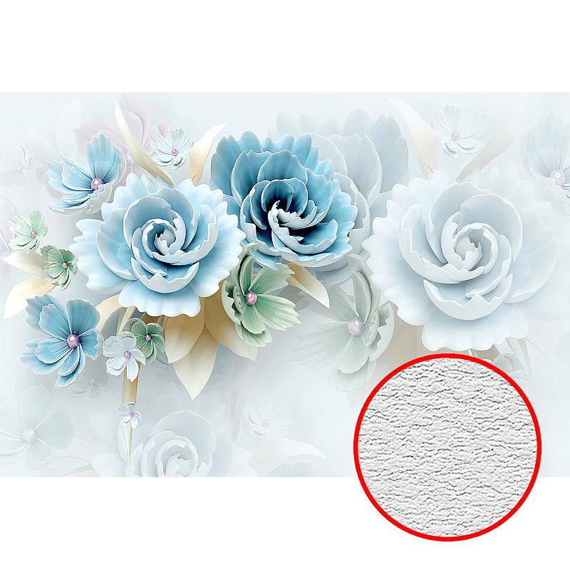 Фотообои Divino T-035 Фактура песок Винил на флизелине (4*2,7) Голубой, Цветы