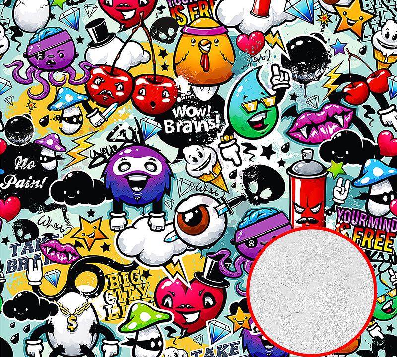 Фотообои Divino B-024 Фактура живопись Винил на флизелине (3*2,7) Разноцветный, Граффити