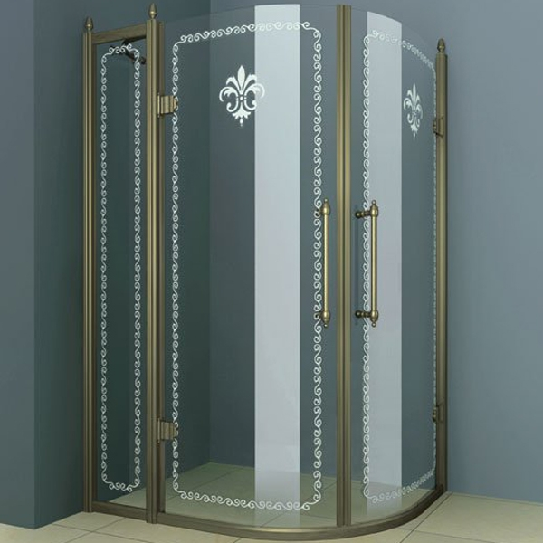 Купить Душевой уголок, Retro RH-2 120x90 профиль Золото стекло прозрачное с матовым узором, Cezares, Италия